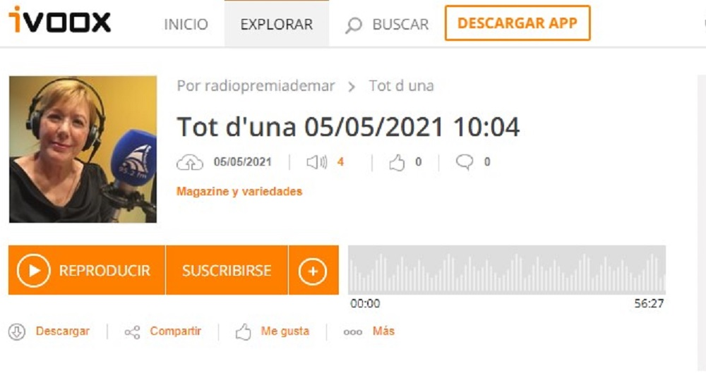 """Som Base i DA+ en el """"Tot d'una"""" de Radio Premia de Mar en el minuto 14'50""""- 05/05/2021 gabinete de prensa"""