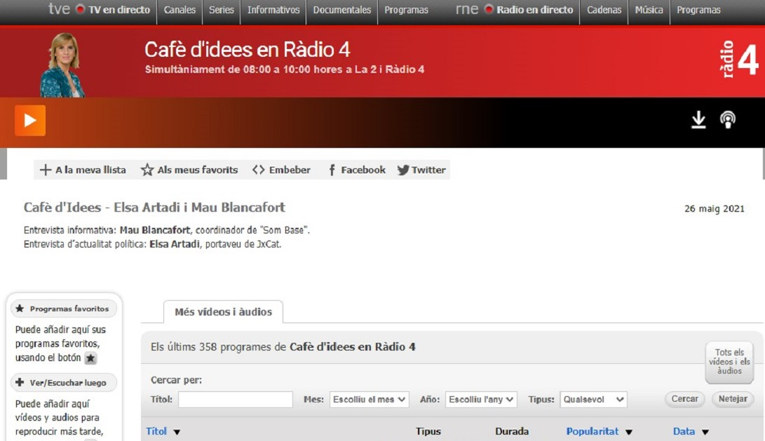 """Som Base y el Derecho al Acompañamiento DA+ en el """"Cafè d'idees de La 2 i de Ràdio 4 """"en el minuto 7'44""""- 26/05/2021 gabinete de prensa"""