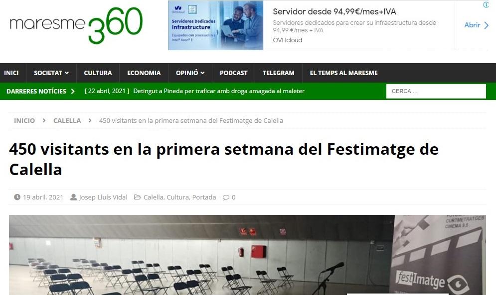 """FESTIMATGE en """"Maresme360"""" - 22/04/2021 gabinete de prensa"""