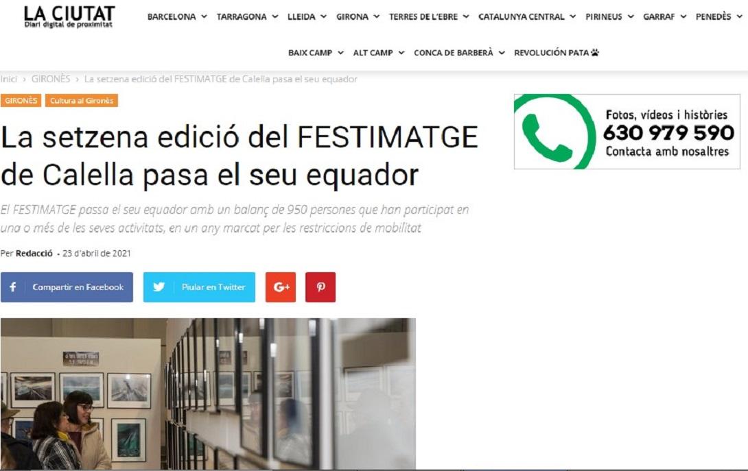"""FESTIMATGE, en el Diario digital de proximidad """"LA CIUTAT """"- 23/04/2021 gabinete de prensa"""