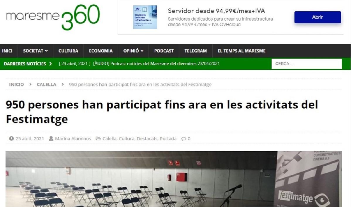 """FESTIMATGE en """"Maresme360"""" - 25/04/2021 gabinete de prensa"""