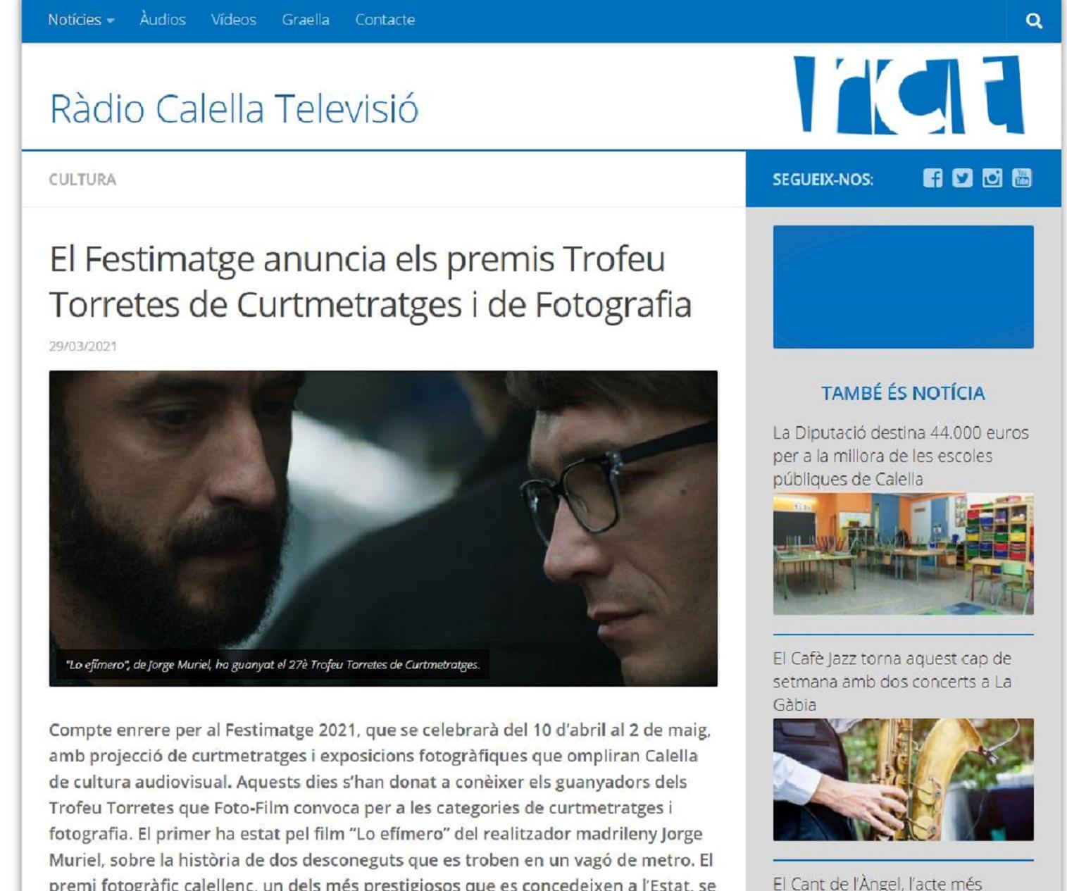 FESTIMATGE, en Radio Calella TV- 29/03/2021 gabinete de prensa