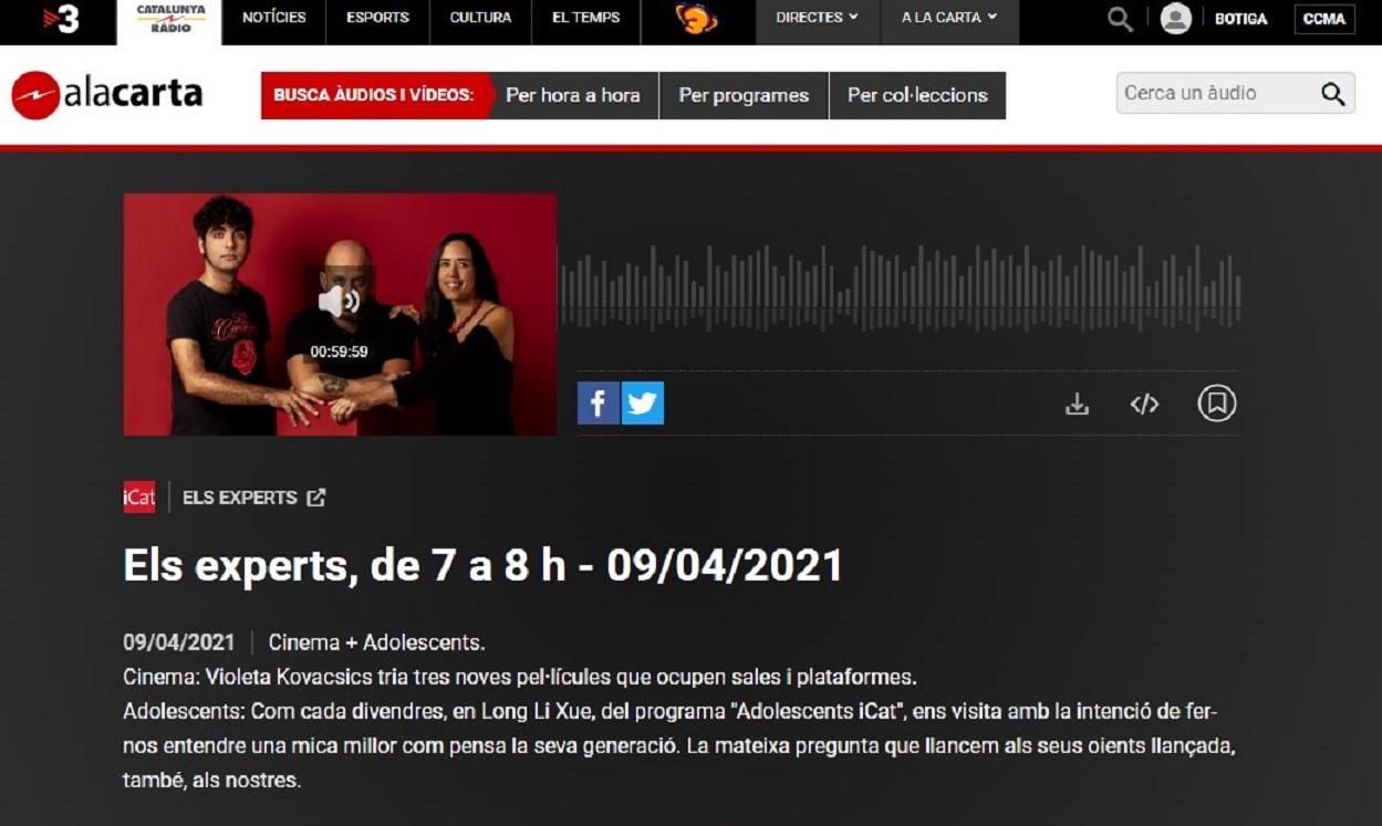 "FESTIMATGE, Festival de la Imagen de Calella, en el programa ""Els Experts"" de Catalunya Radio, en el minuto 35'50"" - 09/04/2021 gabinete de prensa"