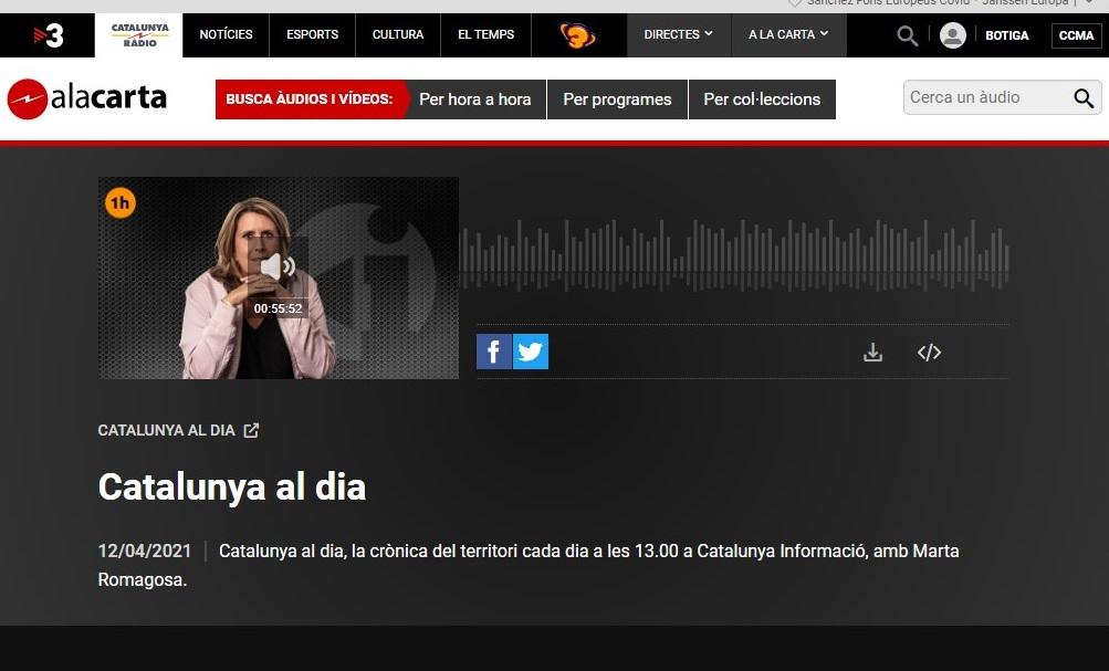 """FESTIMATGE en el """"Catalunya al dia"""" de Cataluña Radio, en el minuto 44'34"""" - 12/04/2021 gabinete de prensa"""