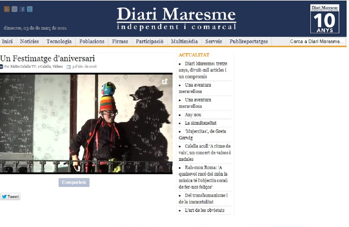 "Festimatge en el ""Diari de Maresme""- 05/04/2016 gabinete de prensa"