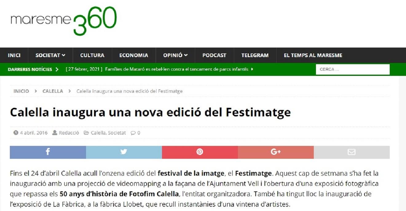 """Festimatge en """"Maresme360"""" - 04/04/2016 gabinete de prensa"""