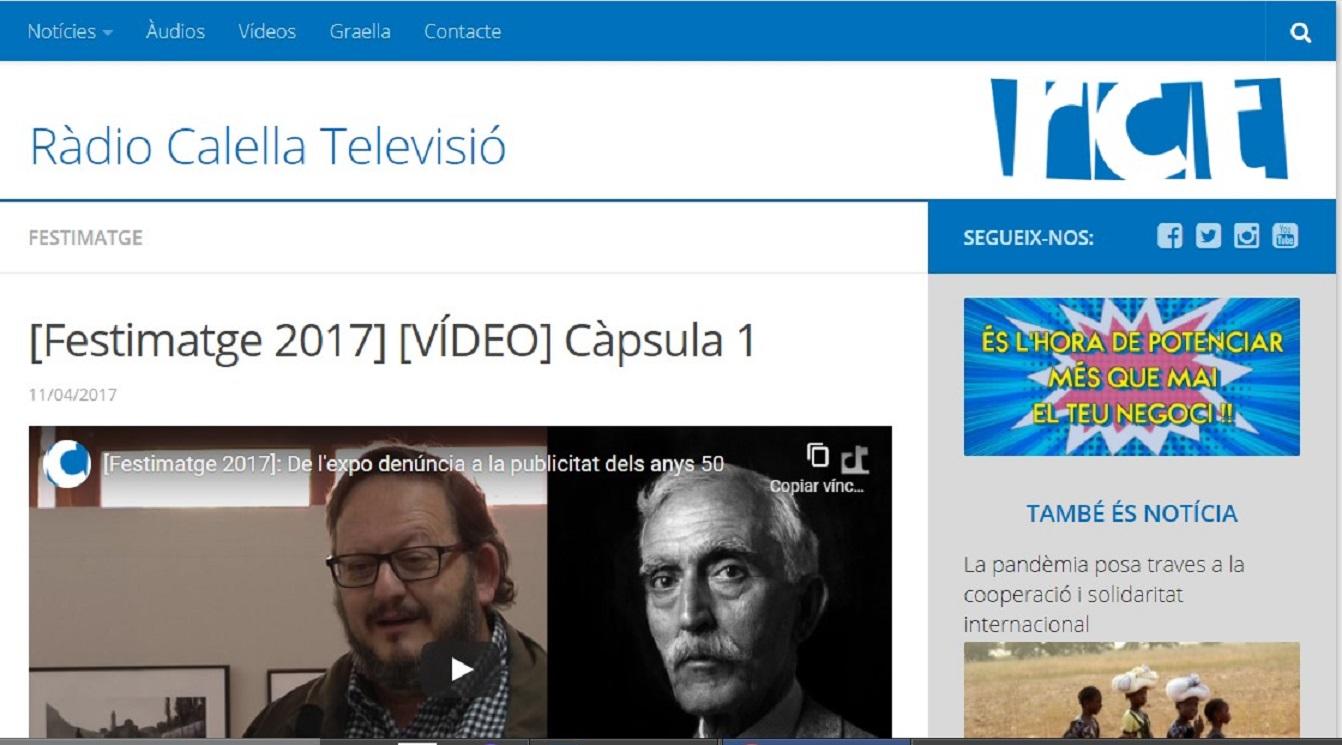 """Festimatge en Radio Calella Televisión """" De l' exposició a la publicitat dels anys 50"""" - 11/04/2017 gabinete de prensa"""