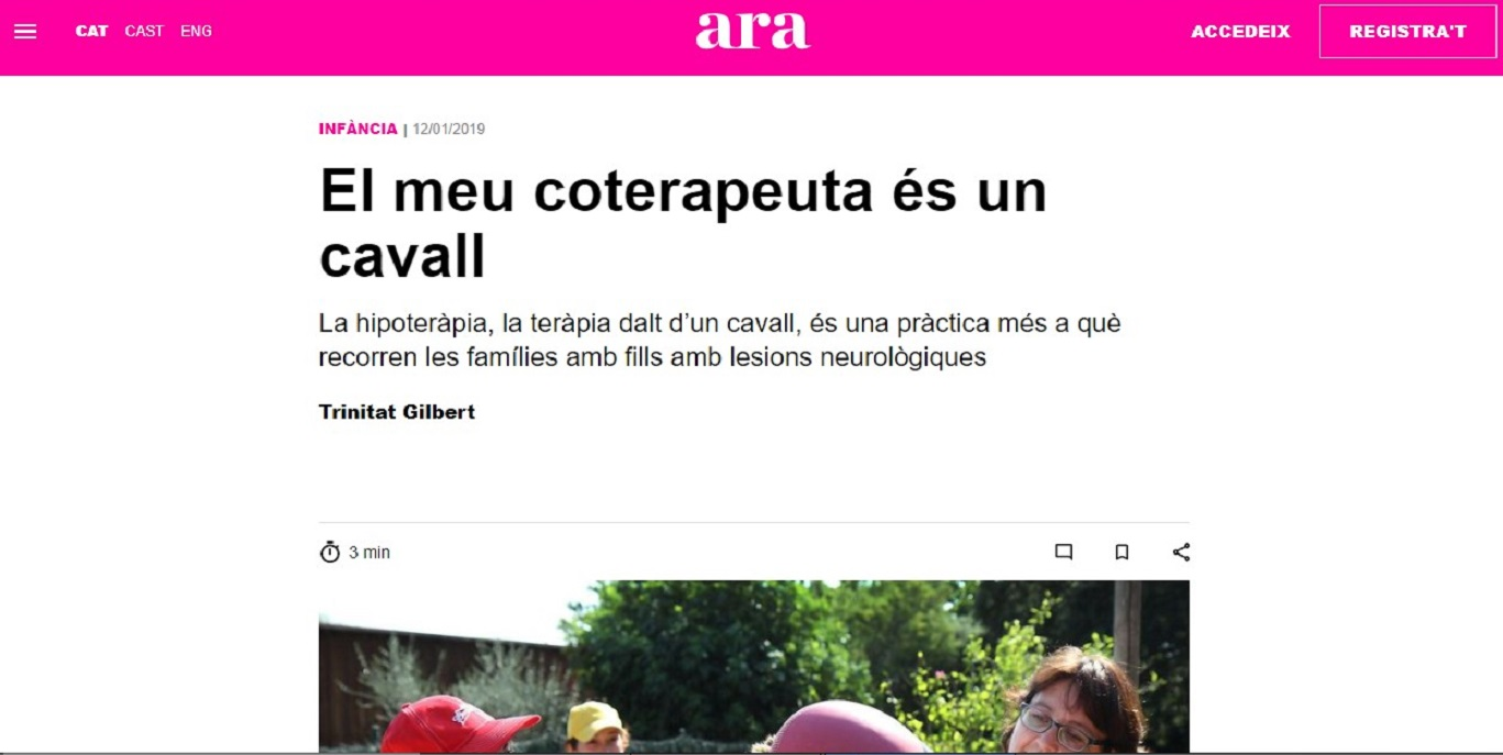 """Fundació Teràpia a Cavall en el """"Criatures del Diari ARA"""" - 12/01/2019 gabinete de prensa"""