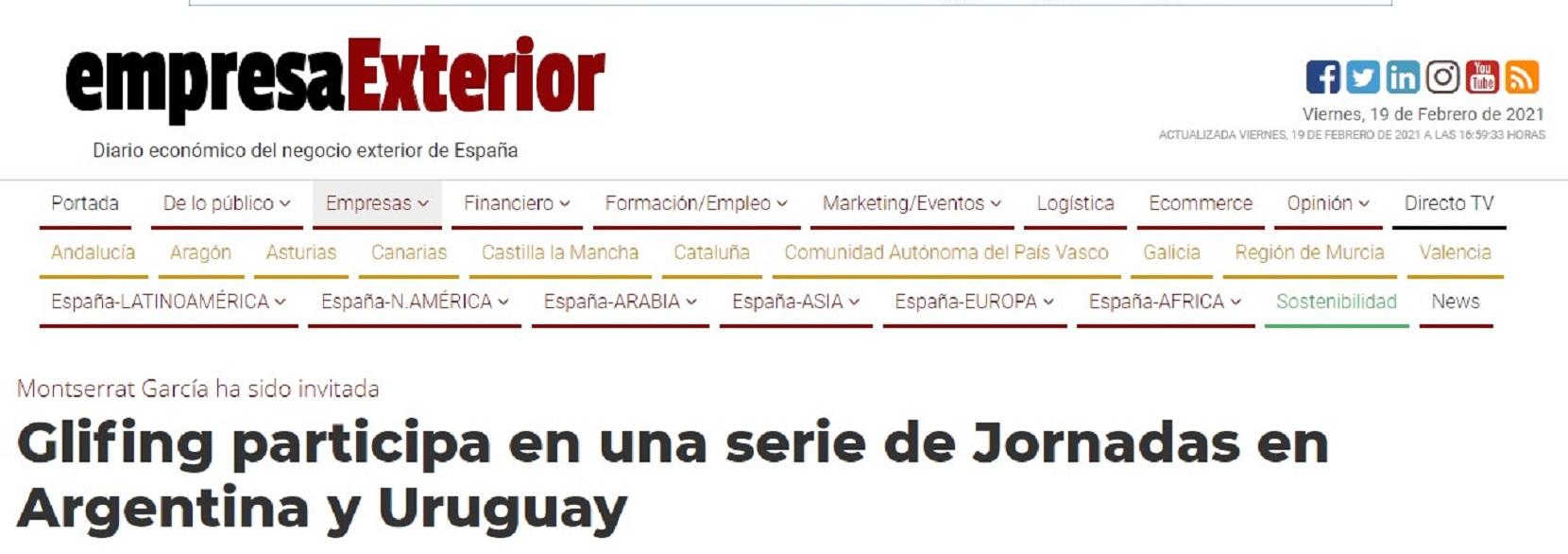 """Glifing en """"Empresaexterior.com"""" - 02/05/2019 gabinete de prensa"""