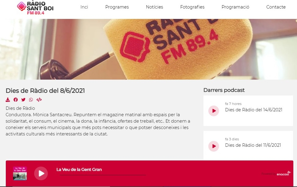 """Glifing en el programa """"Dies de Ràdio"""" de Radio Sant Boi, en el minuto 13'15"""" - 08/06/2021 gabinete de prensa"""