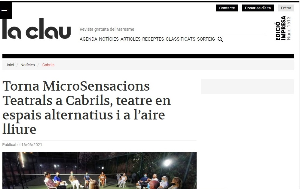 "MicroSensacions Teatrals en ""La Clau"" - 16/06/2021 gabinete de prensa"
