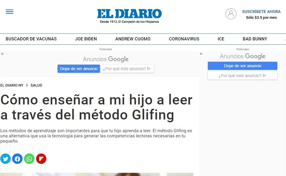Glifing en El Diario NY - 29/04/2021 gabinete de prensa