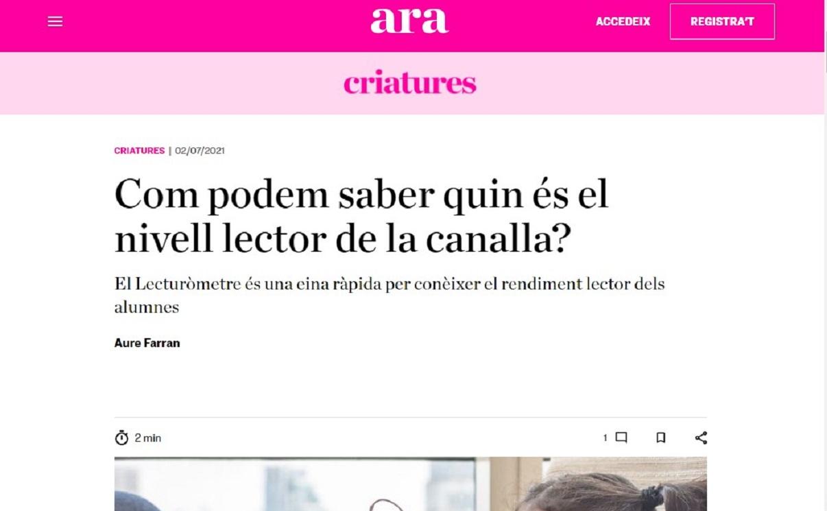 """Glifing en el """" Criatures """"del Diario ARA - 02/07/2021 gabinete de prensa"""