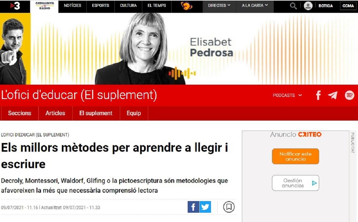 "Glifing en el programa ""L'ofici d'educar (El suplement)""de Cat Radio - 09/07/2021 gabinete de prensa"
