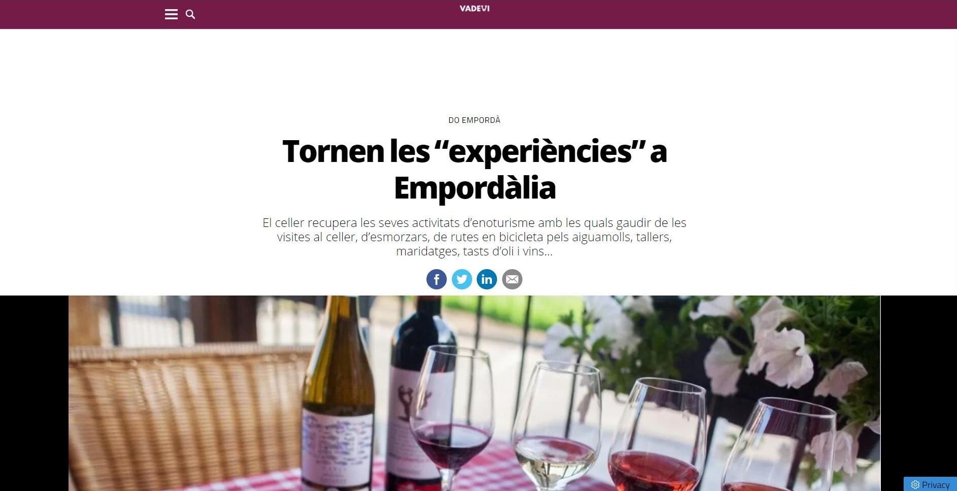 """La bodega Empordàlia a """"Vadevi"""" - 20/07/2021 gabinete de prensa"""