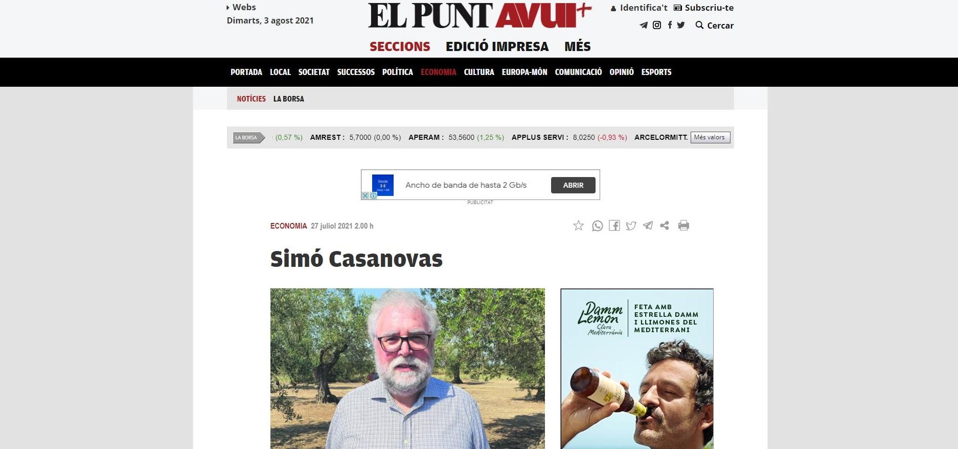 "La bodega Empordàlia a ""El Punt Avui"" - 27/07/2021 gabinete de prensa"